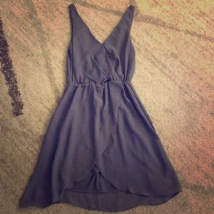 Gray Blue H&M vneck dress, cinched waist. Size 6